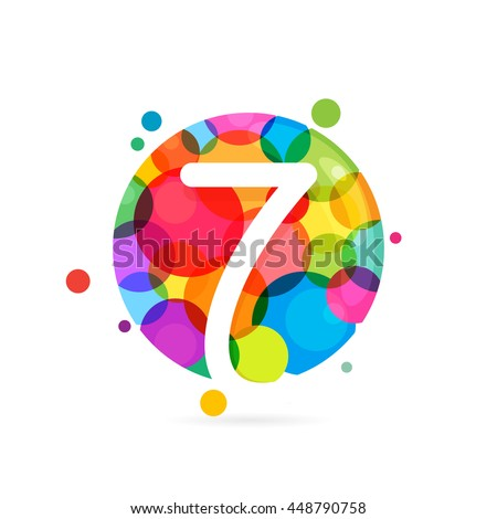 Number seven logo with rainbow dots. Colorful vector design for banner, presentation, web page, card, labels or posters. - stock vector