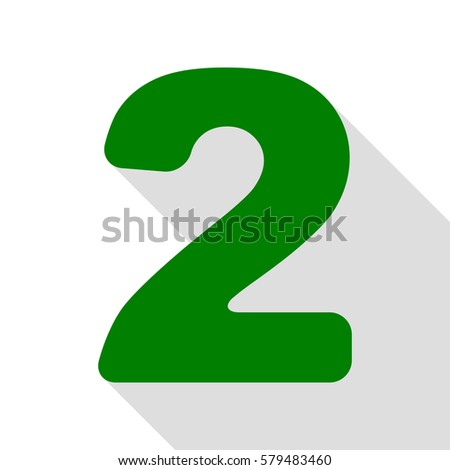 Number 2 sign design template elements stock vector 579483460 number 2 sign design template elements green icon with flat style shadow path pronofoot35fo Image collections