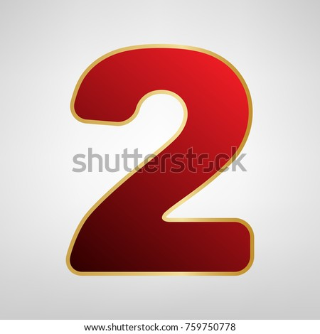 Number 2 sign design template elements stock vector 574907413 number 2 sign design template elements vector red icon on gold sticker at light pronofoot35fo Gallery
