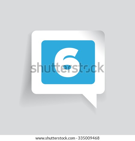 Number six  label vector blue - stock vector