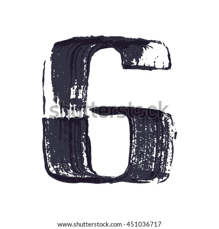 Number six logo hand drawn with dry brush. Vector grunge style design elements for T-shirt, label, badge, card or poster.