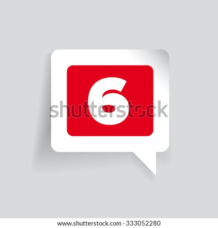 Number six vector label red - stock vector