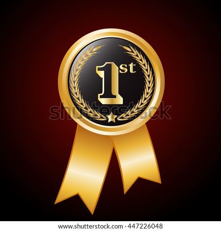 number 1st  on  Gold  award medals .1st anniversary badge.Number one on golden winner symbol.