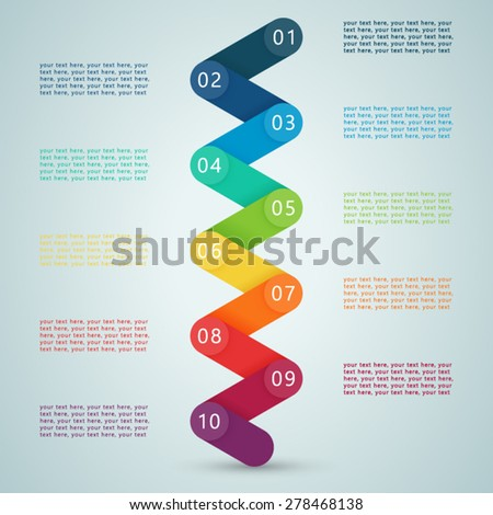 Number Steps 3d Info graphic 1 to 10  - stock vector