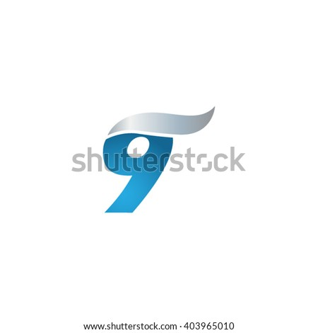 number 9 swoosh design template logo blue gray - stock vector