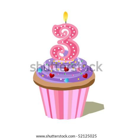 Number Three Cupcake - stock vector