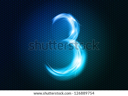 Number THREE from the big abstract numerical series. - stock vector