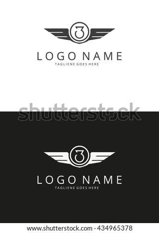 Number three logotype. Wings logo. 2 versions  - stock vector