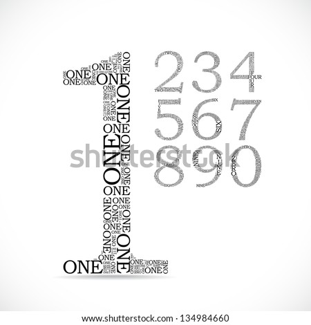 number two created from text - illustration - stock vector