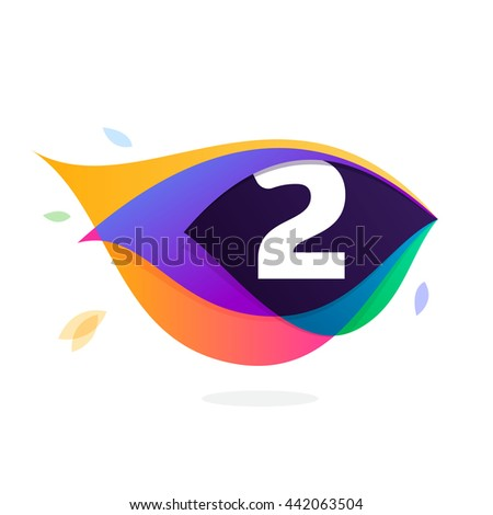 Number two logo in peacock feather icon. Colorful vector design for banner, presentation, web page, app icon, card, labels or posters. - stock vector