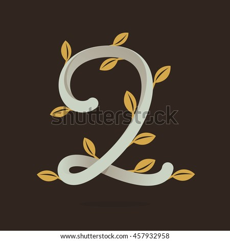 Number two logo with gold leaves. Retro vector design for banner, presentation, web page, app icon, card, labels or posters.