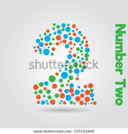 number two with little circle vector abstract