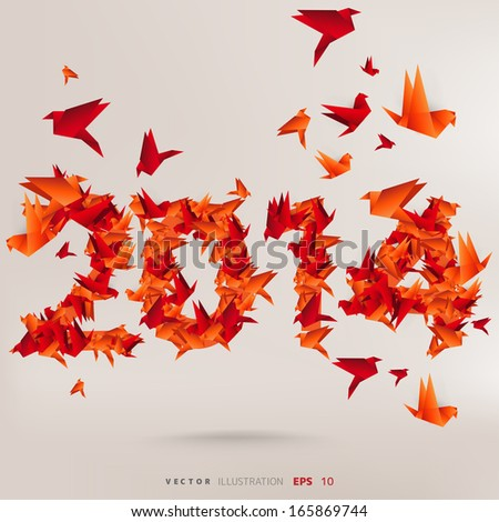 Number 2014 with origami birds - stock vector