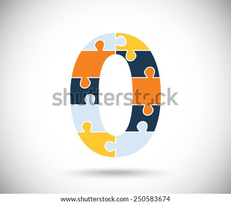 Number zero consisted of  color puzzles  on the gray backdrop. - stock vector