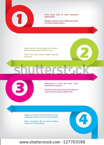 Numbered curling color arrow set  infographic design - stock vector