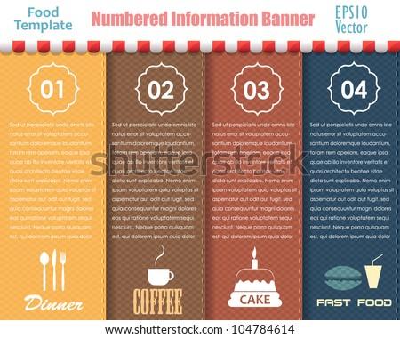Numbered Information Food Template Banner Vintage Pattern Vector Design - stock vector