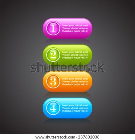 Numbered option buttons - stock vector