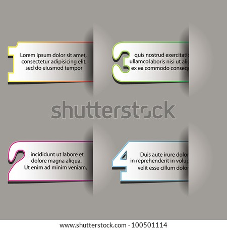 numbered stickers in pockets on the grey background - stock vector