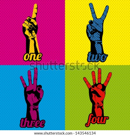 numbers and hands over variety of colors vector illustration - stock vector