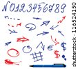 Numbers and symbols (arrows) set - hand drawn picture - stock vector