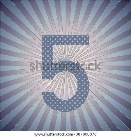 Numbers Arabian. 5. Striped retro background with radiating rays. Burst vector background, retro background design. - stock vector
