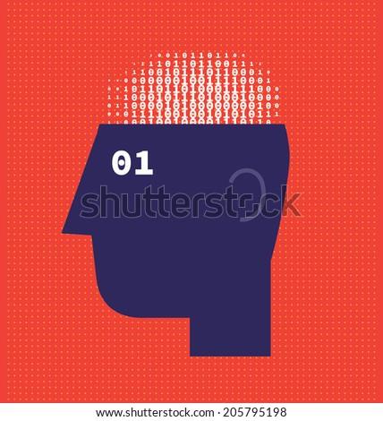Numbers Brain - stock vector