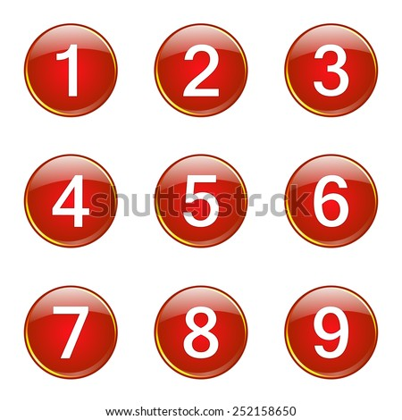 Numbers Counting Red Vector Button Icon Design Set - stock vector