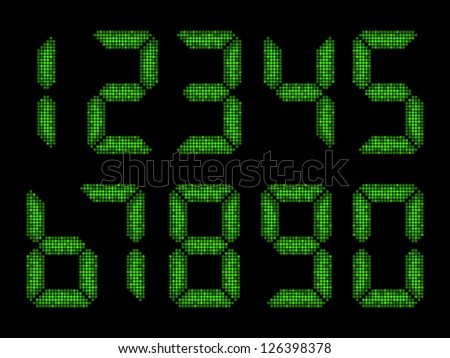 Numbers from seven segment display - stock vector