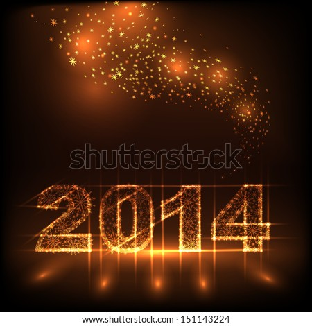 numbers 2014 from snowflakes - stock vector
