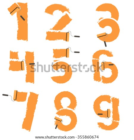 numbers from 0 to 9 are drawn with paint roller