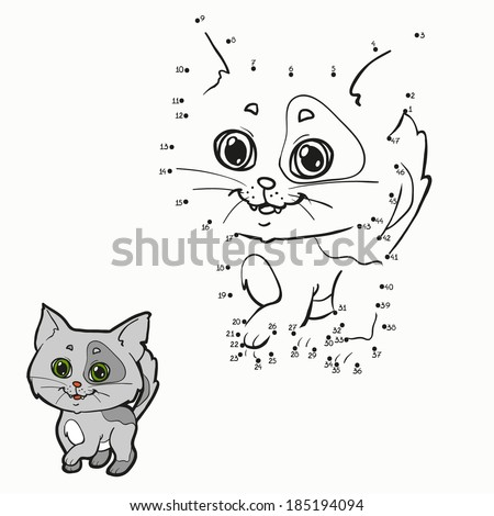 Numbers game (cat) - stock vector