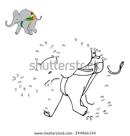 Numbers game (elephant) - stock vector