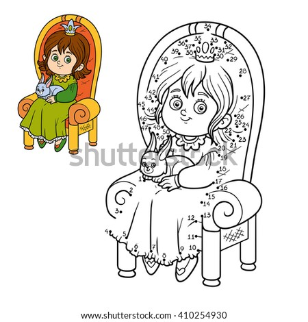 Numbers game for children, dot to dot game, young princess seated on a throne with the bunny in hands