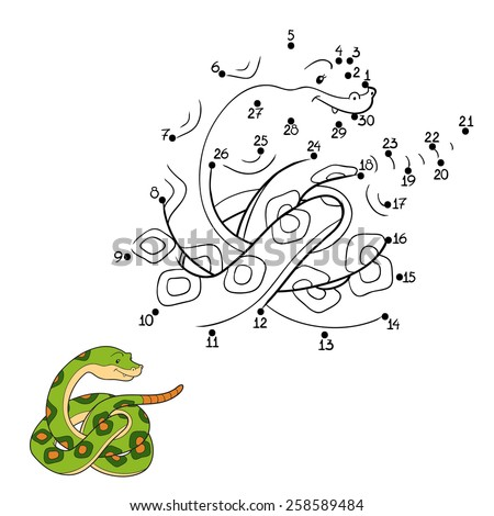 Numbers game (snake) - stock vector