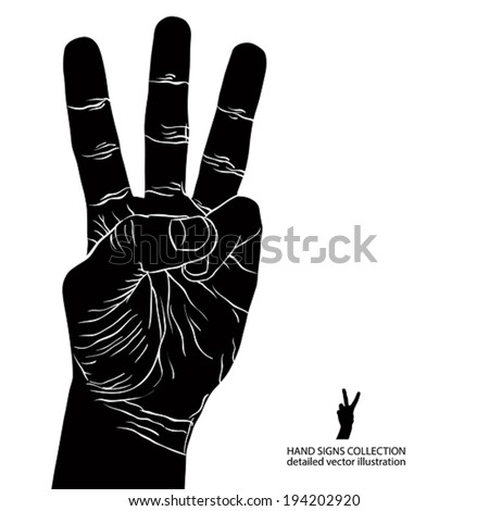Numbers hand signs set, number three, detailed black and white vector illustration.