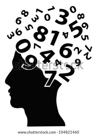 numbers head - stock vector