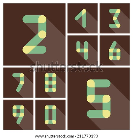 Numbers. Icons set. Vector flat design. - stock vector