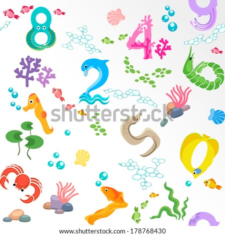 Numbers like sea inhabitants seamless pattern / Solid fill seamless pattern in EPS 8 format - stock vector