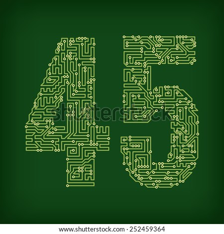 Numbers made of tracks printed circuit boards - stock vector