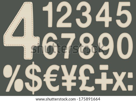 Numbers made with fabric. Vector illustration of numbers and other mathematical symbols, textured fabric. EPS8 Illustration. - stock vector