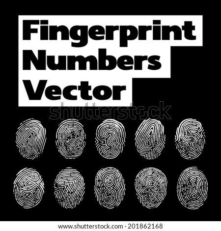 Numbers of fingerprint. Vector illustration with number - stock vector