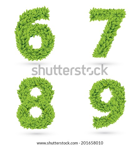Numbers of green leaves collection. Decorative symbols isolated on white. Eps 10 vector illustration. - stock vector