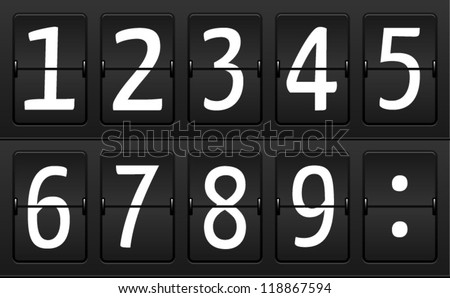 Numbers on Airport Time table for departures and arrivals - stock vector