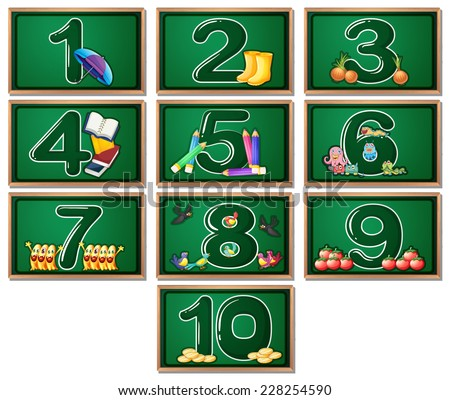 Numbers on blackboards 1 to 10 - stock vector
