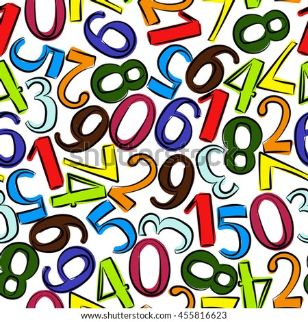 Numbers seamless pattern. Hand drawn vector illustration.  Numbers and symbols texture. Colorful numbers for children.