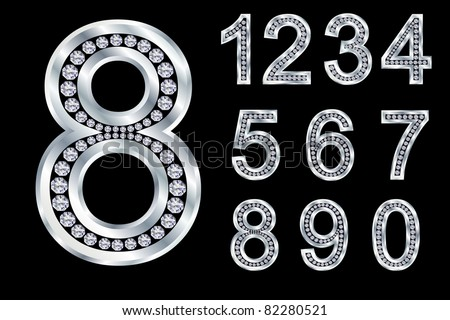 Numbers set, from 1 to 9, silver with diamonds, vector illustration - stock vector
