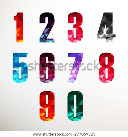 Numbers Set In Low Poly Style Different Vibrant Colors Vector Illustration