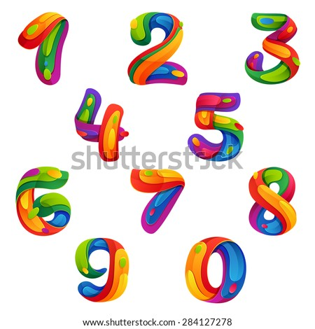 Numbers set in volume splash style, vector design template elements - stock vector