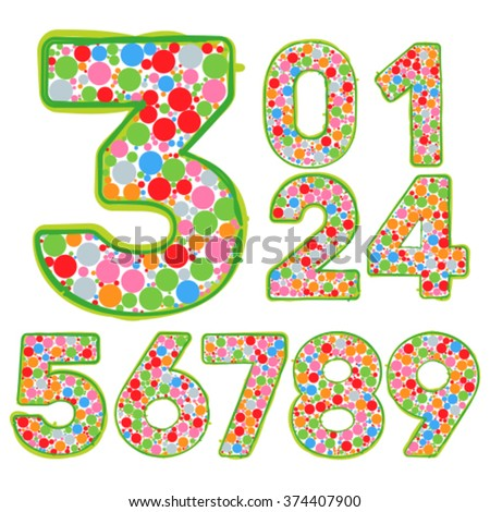 Numbers set of multycolor bubbles