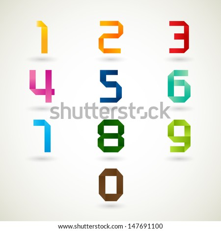 Numbers set origami style with bright colors. Vector illustration. - stock vector
